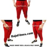 JOGER SHORT RED & BLACK HALF SHORT